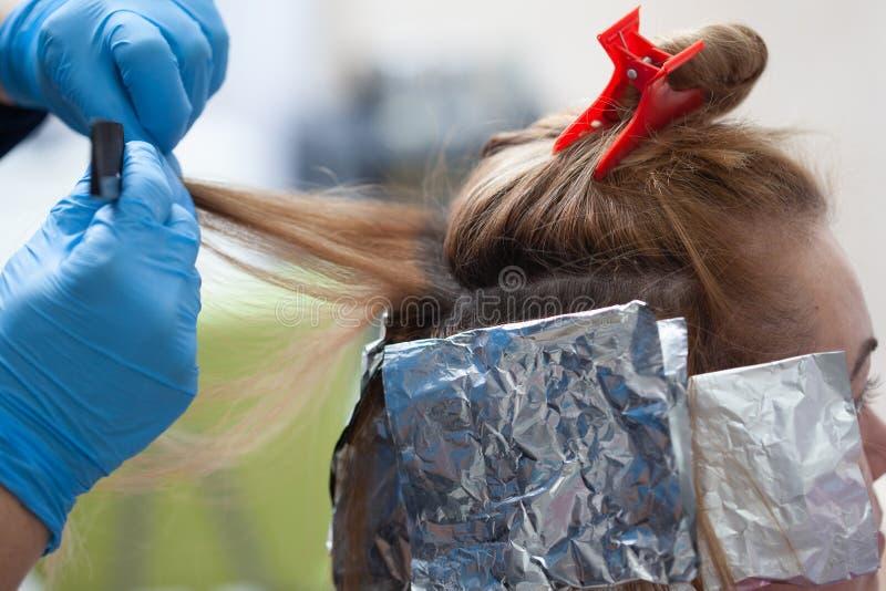 Парикмахер в процессе волос крася стоковое изображение rf