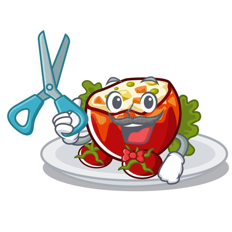 Парикмахер заполнил томаты положенные на плиты характера иллюстрация вектора
