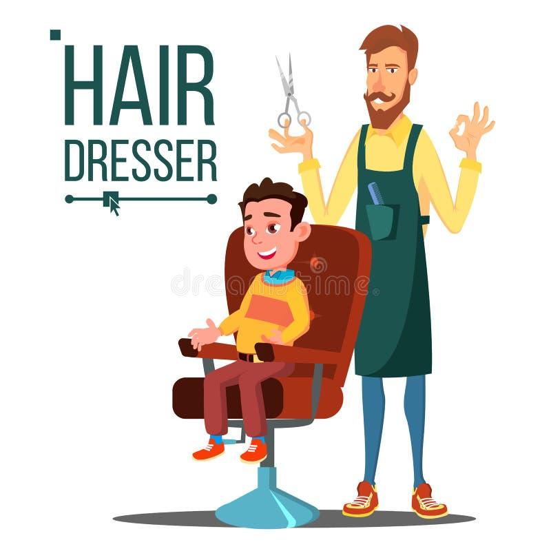 Парикмахер и ребенок, предназначенный для подростков вектор Делать стрижку клиента barbra Изолированная плоская иллюстрация шаржа бесплатная иллюстрация