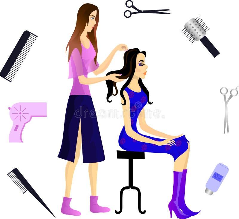парикмахер клиента иллюстрация вектора