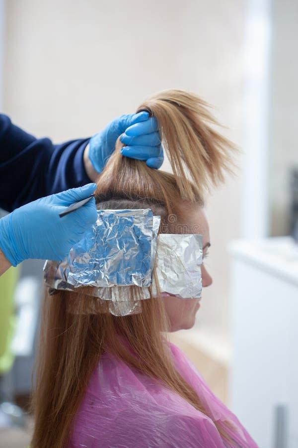 Парикмахер собирая волосы в ponytail стоковое изображение