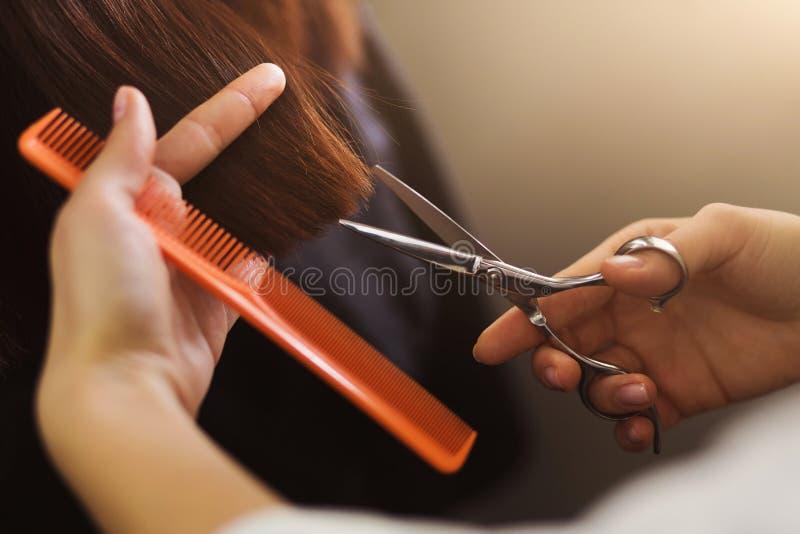 Парикмахер уравновешивая коричневые волосы с ножницами стоковые изображения rf