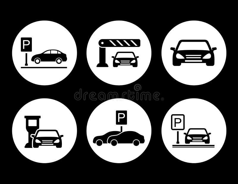 Парковать вокруг установленных значков бесплатная иллюстрация