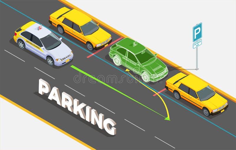 Паркуя равновеликая концепция предпосылки иллюстрация штока