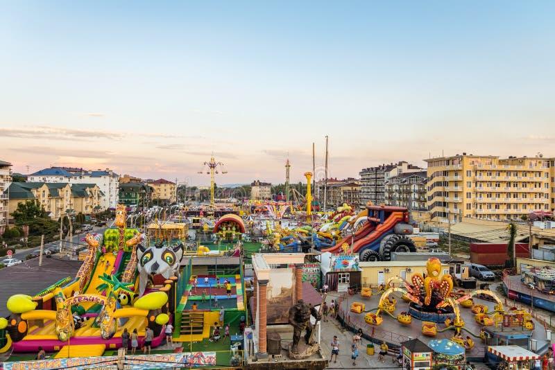 Парк  занятности Ñ Vizantia oastal Туристский городок с гостиницами стоковое изображение