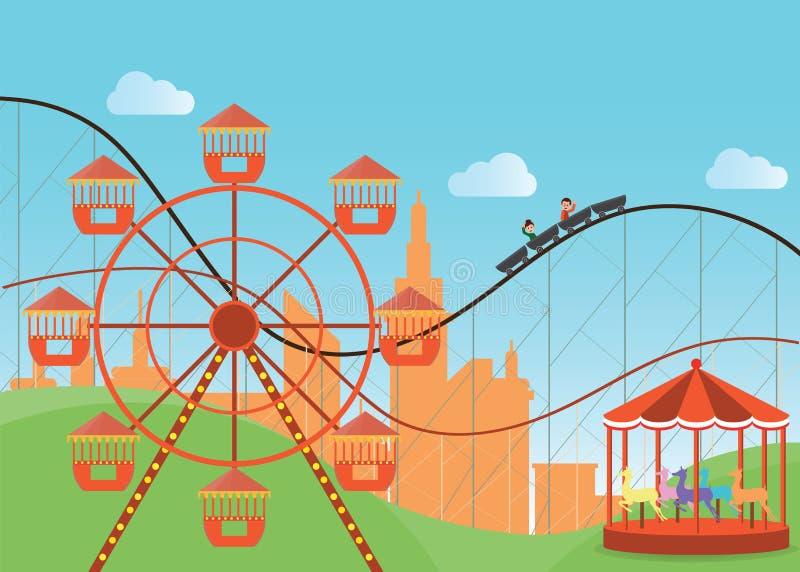 Парк атракционов в плоско красочном с колесом Ferris иллюстрация вектора