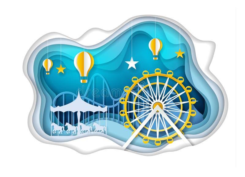 Парк атракционов с иллюстрацией искусства бумаги вектора колеса ferris иллюстрация вектора
