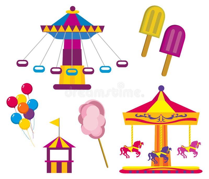 Download Парк атракционов иллюстрация вектора. иллюстрации насчитывающей барбекю - 33728943
