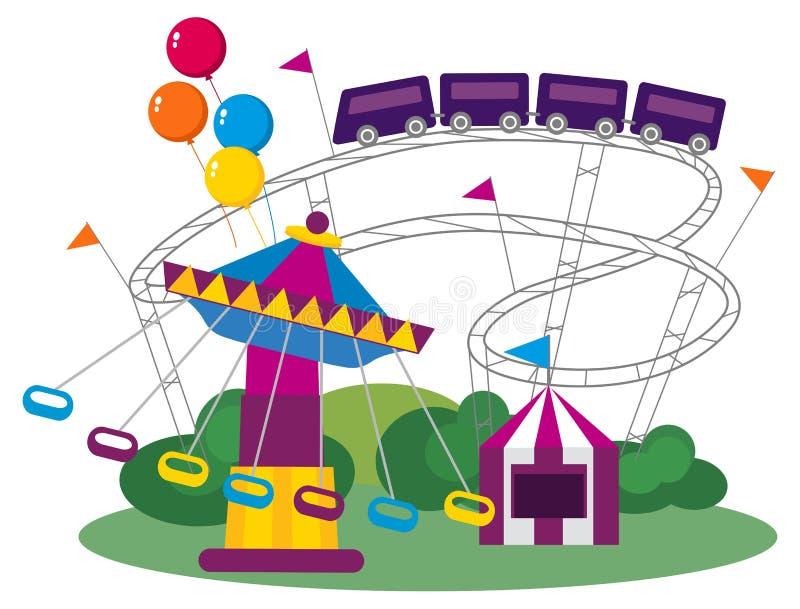 Download Парк атракционов иллюстрация вектора. иллюстрации насчитывающей парк - 33728946