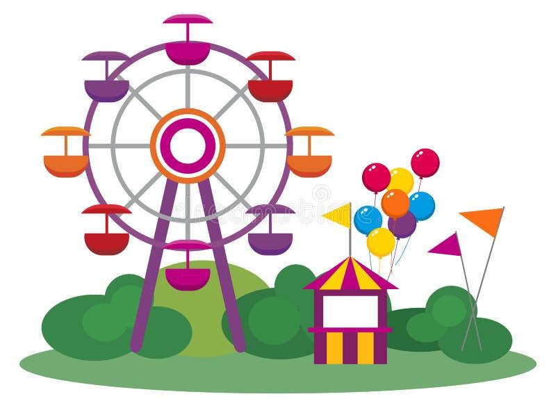 Download Парк атракционов иллюстрация вектора. иллюстрации насчитывающей справедливо - 33728947