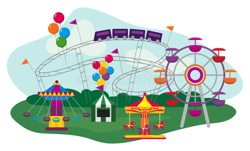 Download Парк атракционов иллюстрация вектора. иллюстрации насчитывающей ferris - 33728953