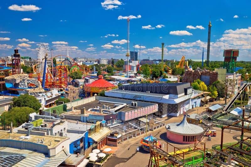 Парк атракционов Prater в виде с воздуха вены стоковое фото