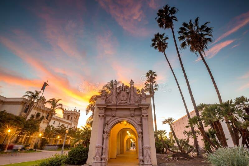 Парк бальбоа Сан-Диего в Сан-Диего Калифорнии стоковое изображение rf