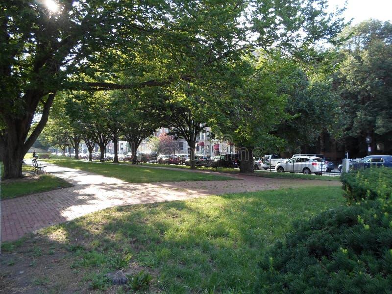 Парк в квадрате Kenmore, Бостон, Массачусетсе, США стоковое изображение rf