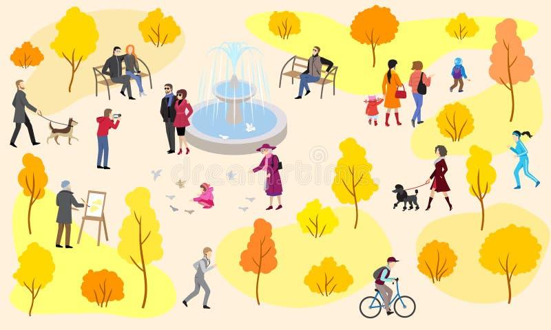 Парк города осени с фонтаном и идя людьми иллюстрация штока