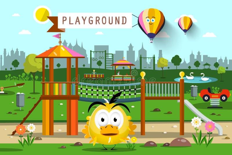 Парк города с горячими воздушными шарами, силуэтом горизонта и цыпленком иллюстрация штока