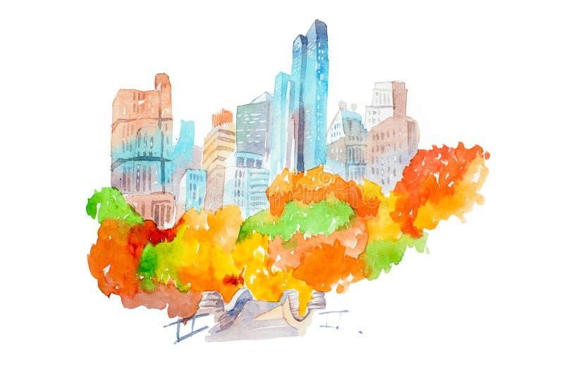 Парк города в небоскребах осени и красочной иллюстрации акварели деревьев иллюстрация штока