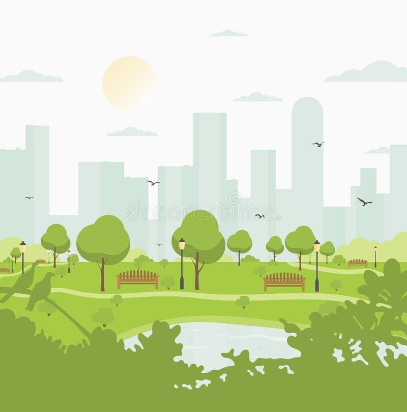 Парк города против многоэтажных зданий ландшафт с деревьями, кустами, озером, птицами, фонариками и стендами Цветастый вектор бесплатная иллюстрация