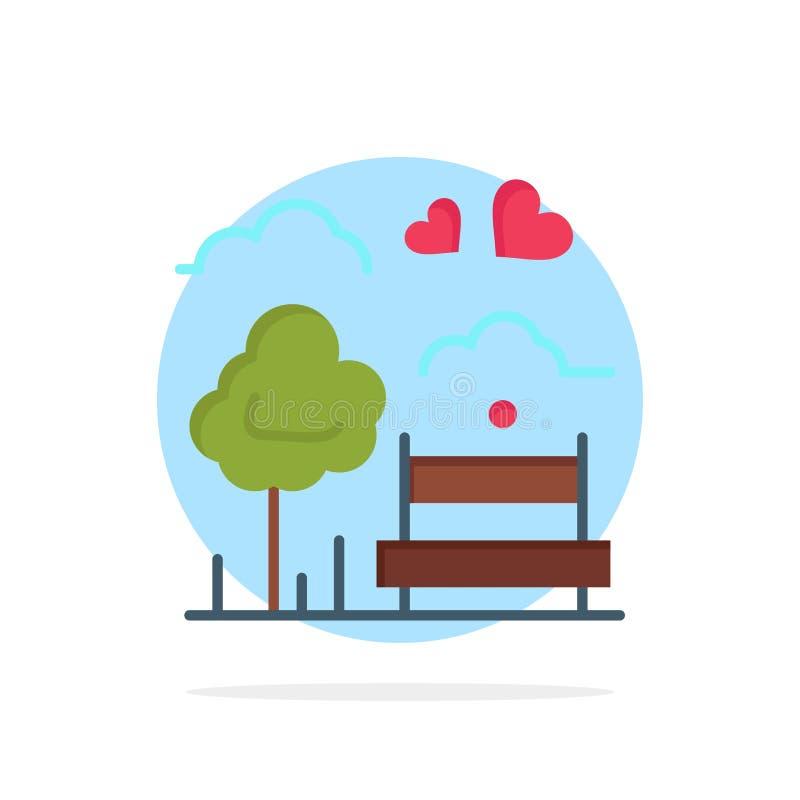 Парк, дерево, Суд, любовь, значок цвета на открытом воздухе абстрактной предпосылки круга плоский иллюстрация вектора
