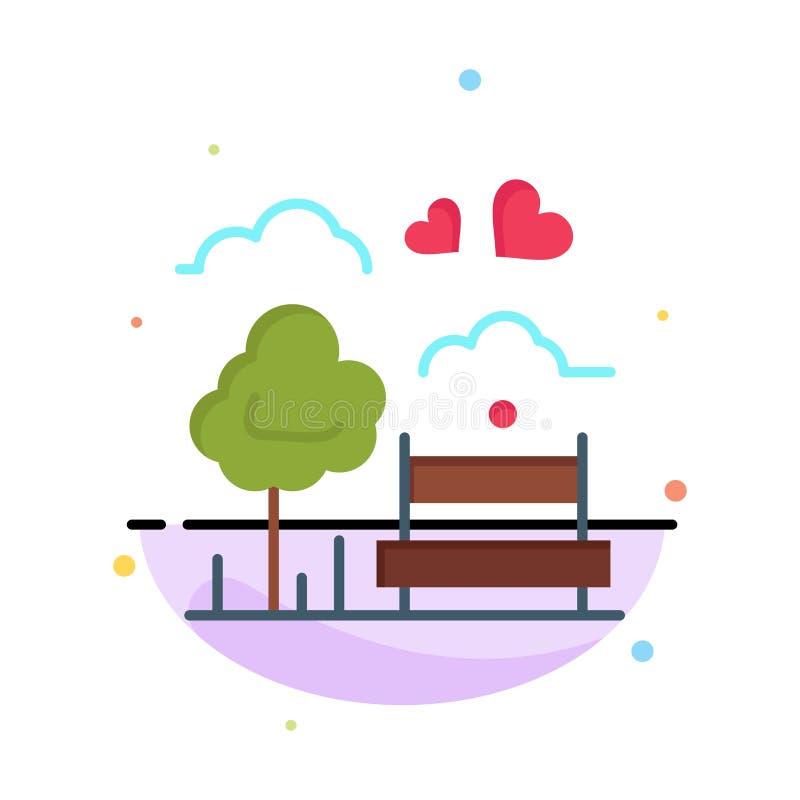 Парк, дерево, Суд, любовь, на открытом воздухе абстрактный плоский шаблон значка цвета бесплатная иллюстрация