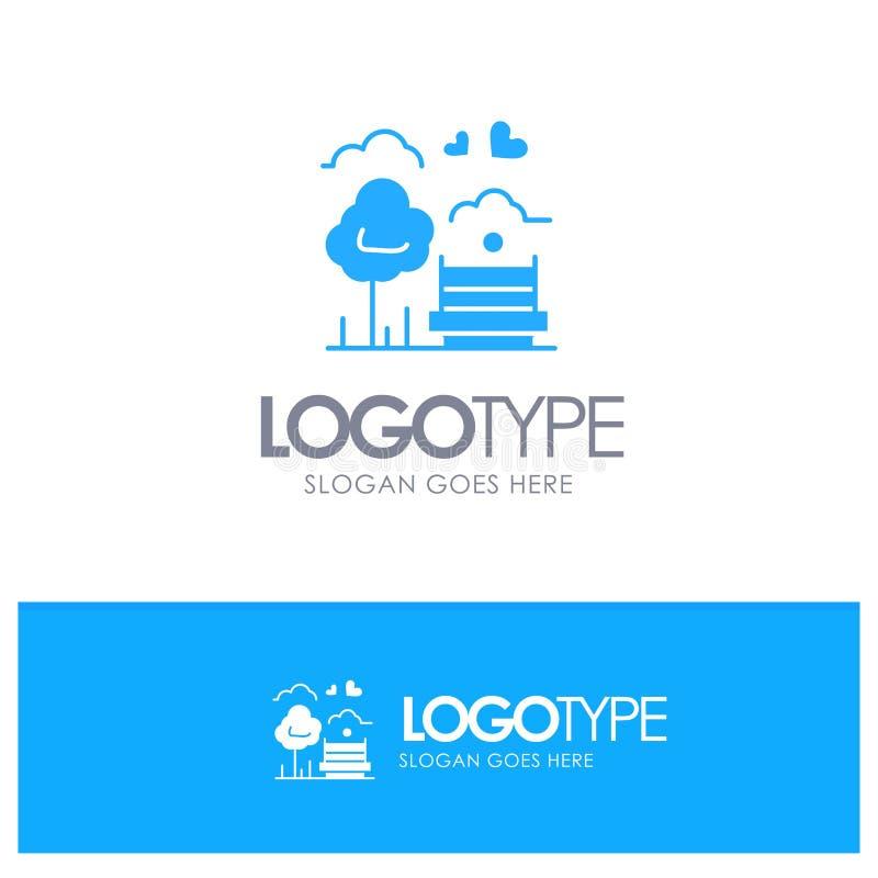 Парк, дерево, Суд, любовь, на открытом воздухе голубой твердый логотип с местом для слогана иллюстрация вектора