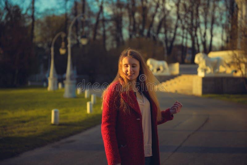 Парк женщины весной красивый портрет девушки в заходе солнца стоковое фото rf