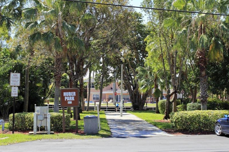 Парк и знак Huber стоковое фото rf
