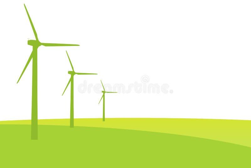Парк мельницы ветра на силуэтах луга иллюстрация вектора