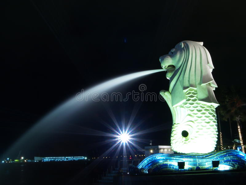 парк ночи merlion стоковая фотография