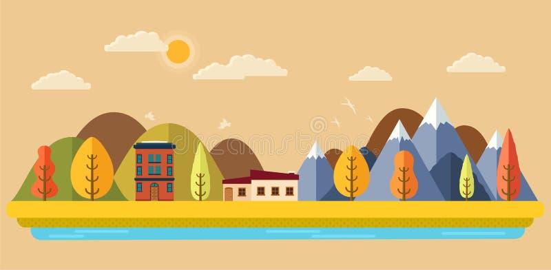 Парк осени с видом на город Панорама и деревья горы иллюстрация штока