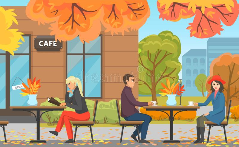 Парк осени с кафем, парами и женщиной на таблице иллюстрация вектора