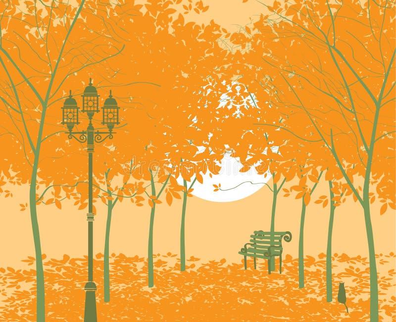 Парк осени иллюстрация штока