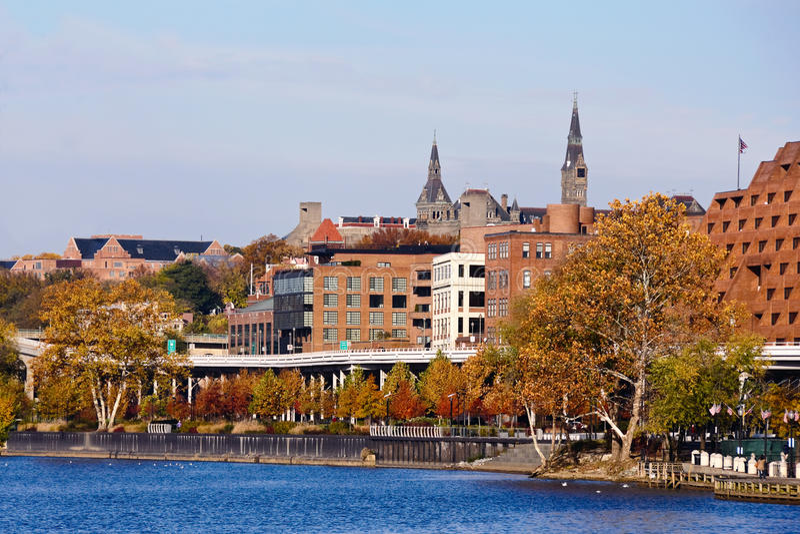 Парк портового района Джорджтаун, Вашингтон. стоковые фотографии rf
