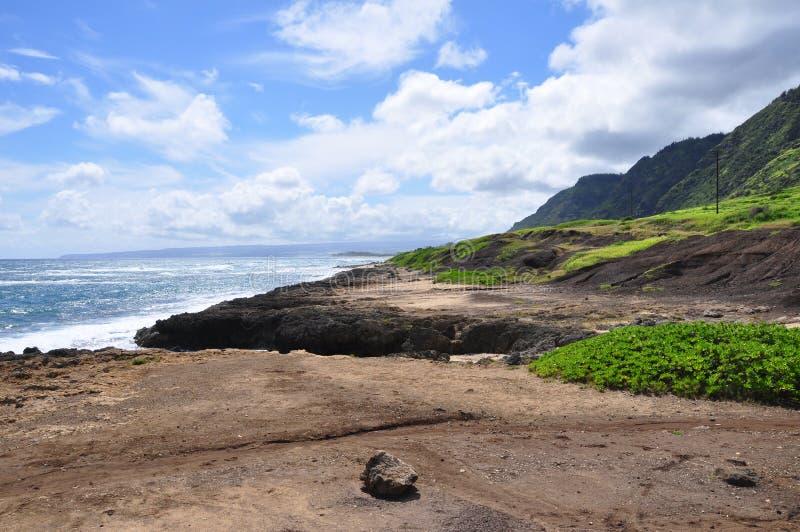 Парк пляжа Mokuleia, северный берег, Оаху стоковые изображения rf