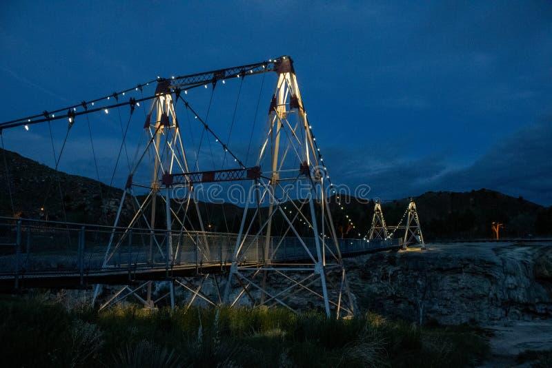 Парк штата горячих источников Вайоминга thermopolis отбрасывая моста стоковое фото