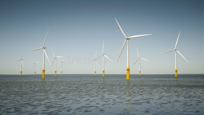 Парк энергии ветера с суши стоковые изображения rf