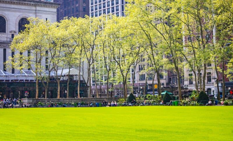 Парк Bryant, Нью-Йорк Манхэттен Свежие зеленые лужайка и деревья, солнечный день весной стоковая фотография