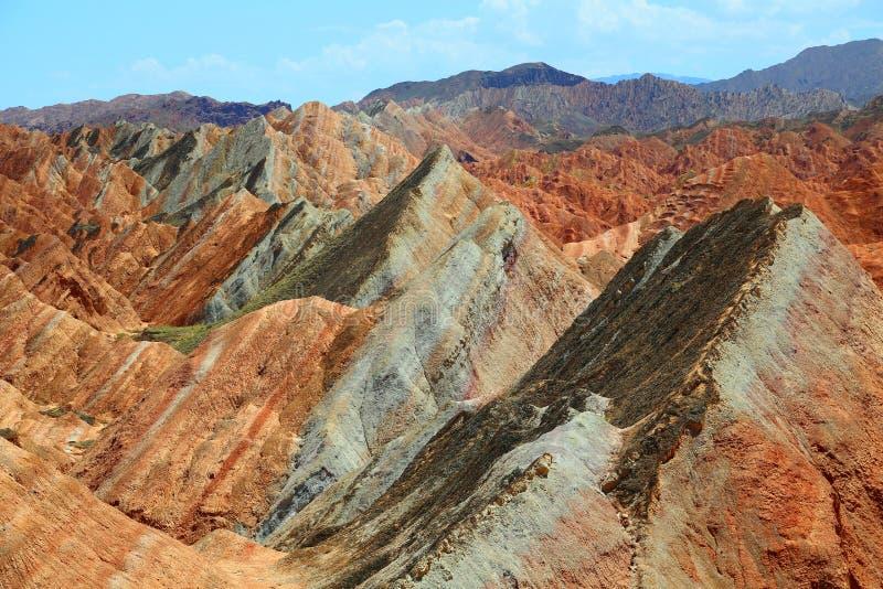 Парк Danxia геологохимический, провинция Zhangye, Ганьсу, Китай стоковые фотографии rf