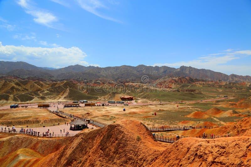 Парк Danxia геологохимический, провинция Zhangye, Ганьсу, Китай стоковая фотография