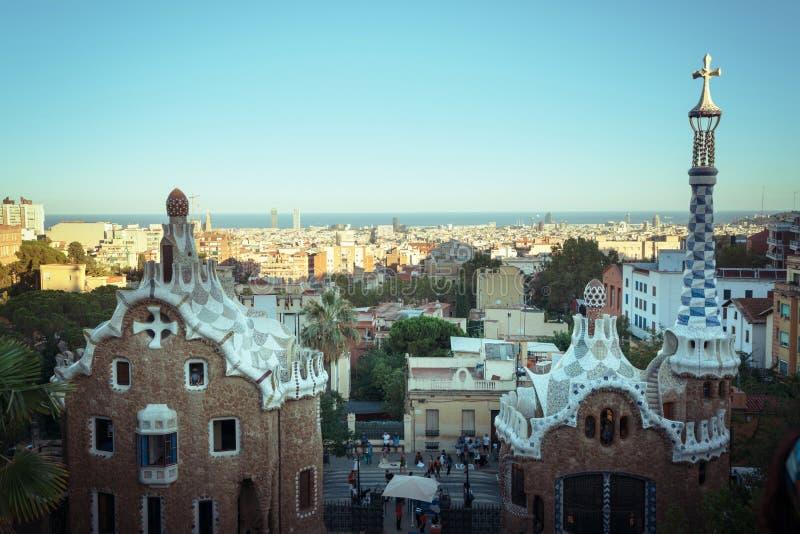 парк guell barcelona стоковая фотография