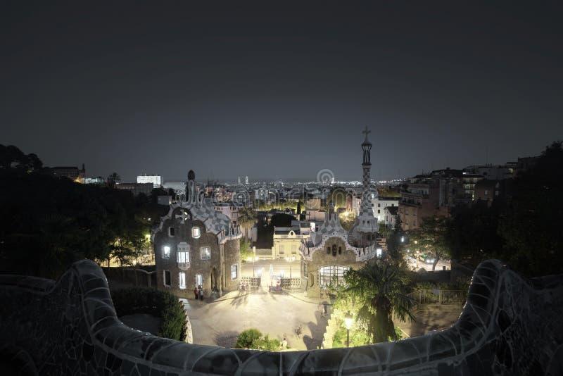 парк guell barcelona стоковое фото