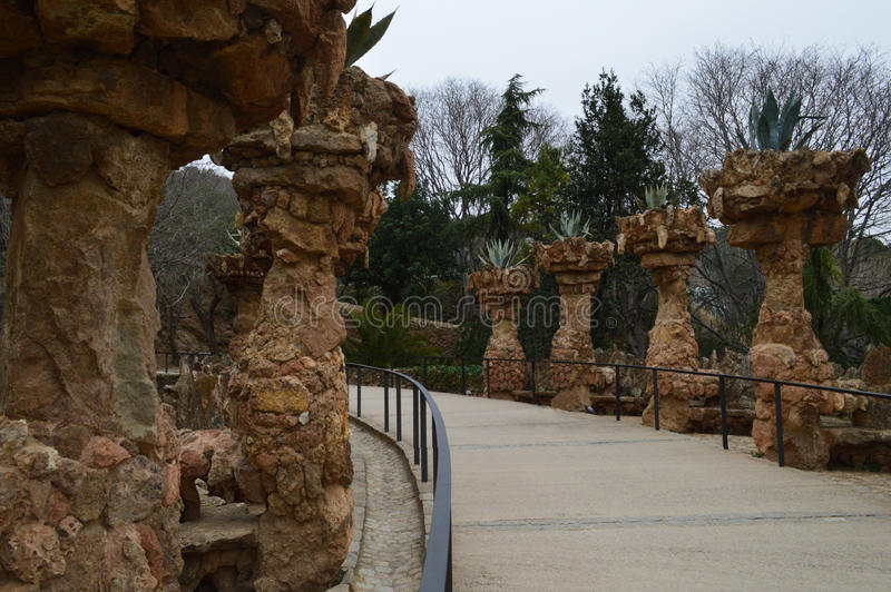 Парк Guell, Barselona, Испания стоковые фотографии rf