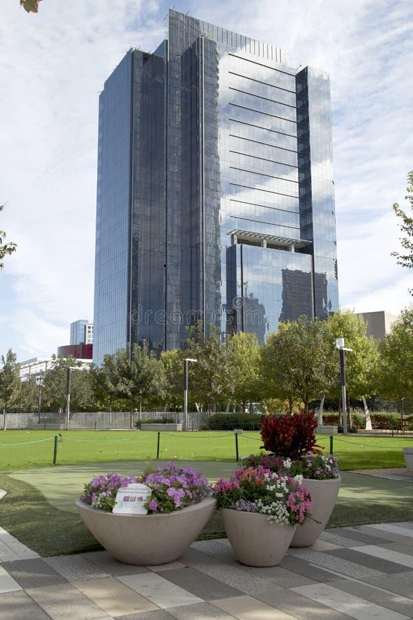 Парк Klyde Уоррена и современные здания в городском Далласе стоковые изображения