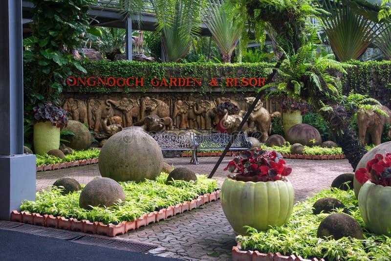 Парк Nong Nooch Таиланда Паттайя тропический, имя парка в экспозиции стоковые изображения rf