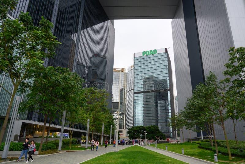 Парк Tamar и комплекс центрального правительства, остров Гонконга стоковые изображения rf