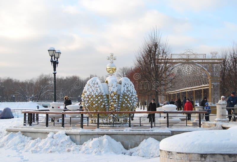 Парк Tsaritsyno в Москве украсил на Новый Год стоковое изображение
