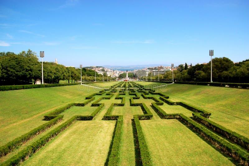 парк VII eduardo lisbon стоковое изображение