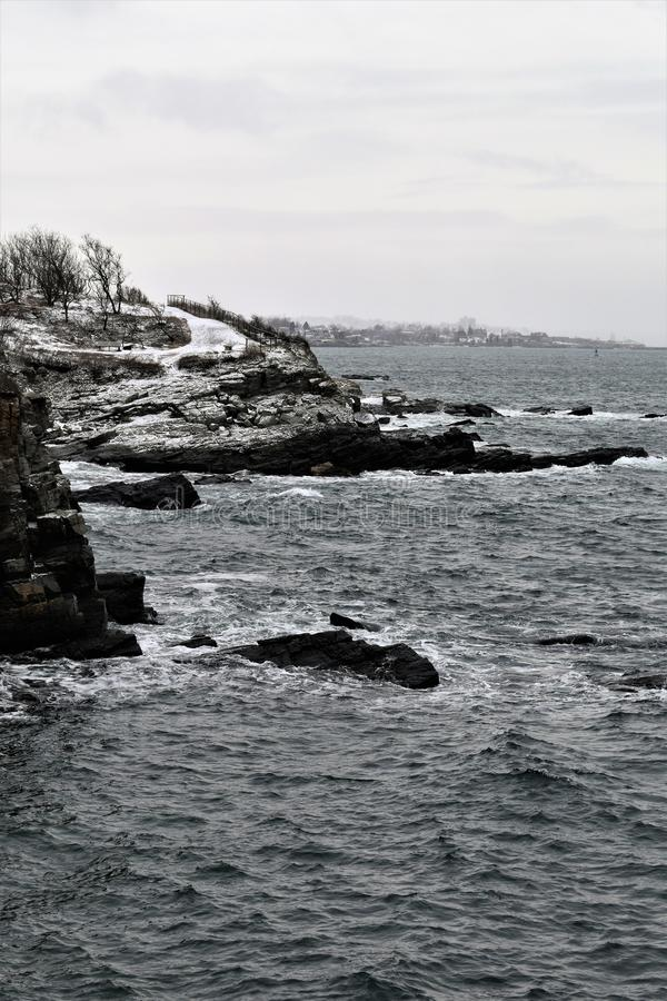 Парк Williams форта, накидка Eiizabeth, Cumberland County, Мейн, Соединенные Штаты Новая стоковое фото rf