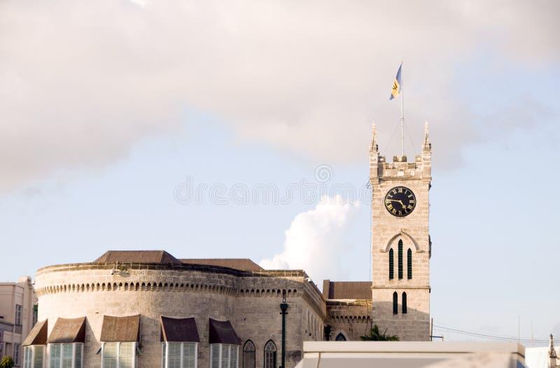 парламент флага здания Барбадосских островов bridgetown стоковая фотография