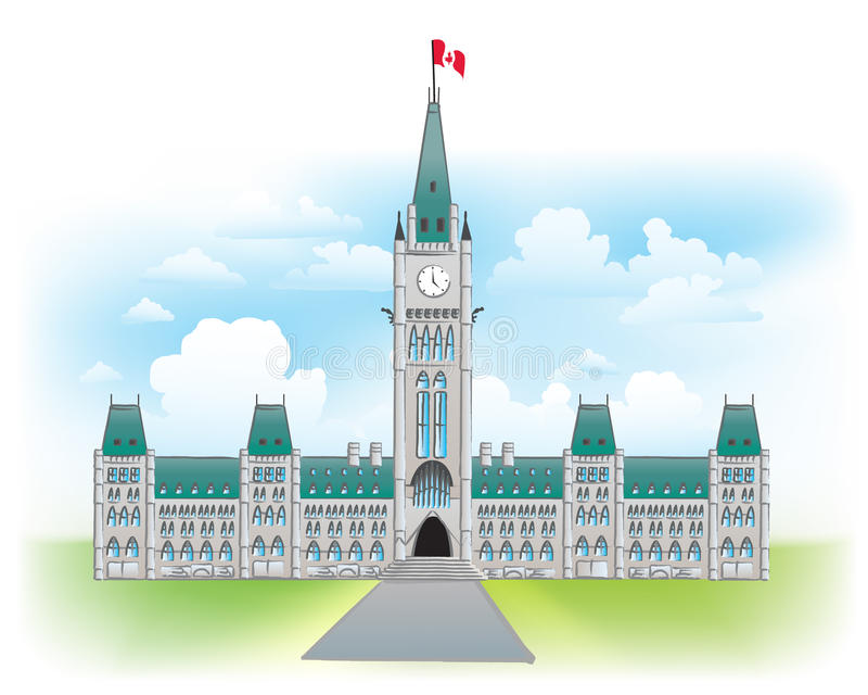 парламент ottawa холма Канады иллюстрация штока